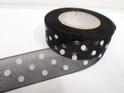 Black and White polka dot / spotted organza ribbon 2 or 20 metres x 25mm